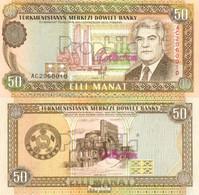 Turkmenistan Pick-Nr: 5a Bankfrisch 1993 50 Manats - Turkménistan