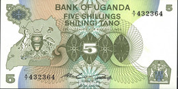 Uganda Pick-Nr: 15 Bankfrisch 1982 5 Shillings - Uganda