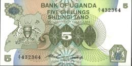 Uganda Pick-Nr: 15 Bankfrisch 1982 5 Shillings - Ouganda