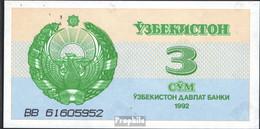Usbekistan Pick-Nr: 62a Bankfrisch 1992 3 Sum - Uzbekistan