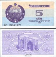 Usbekistan Pick-Nr: 63a Bankfrisch 1992 5 Sum - Ouzbékistan