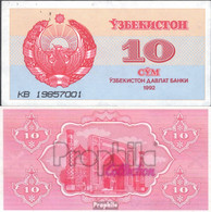 Usbekistan Pick-Nr: 64a Bankfrisch 1992 10 Sum - Uzbekistan