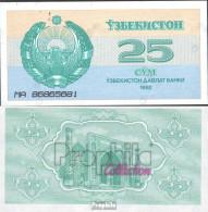 Usbekistan Pick-Nr: 65a Bankfrisch 1992 25 Sum - Uzbekistán