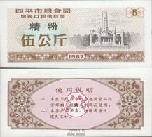 Volksrepublik China Braun B Chinesischer Mehlgutschein Bankfrisch 1987 5 Jin - China
