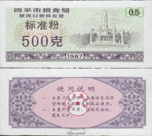 Volksrepublik China Lila C Chinesischer Mehlgutschein Bankfrisch 1987 1/2 Jin - China