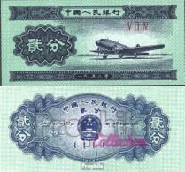 Volksrepublik China Pick-Nr: 861b Bankfrisch 1953 2 Fen Flugzeug - China
