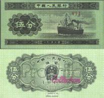 Volksrepublik China Pick-Nr: 862b Bankfrisch 1953 5 Fen Schiff - China