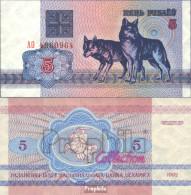 Weißrussland Pick-Nr: 4 Bankfrisch 1992 5 Rublei Wölfe - Belarus