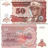 Zaire Pick-Nr: 57 Bankfrisch 1993 50 Zaires (new) Leopard - Zaire