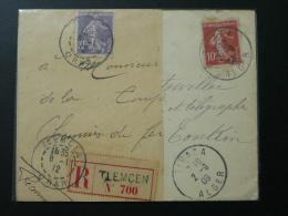 Lettre Semeuse Oblitération Tipaza 1908 + Fragment (non Collé) De Recommandé Oblitéré Tlemcen 1912 Algérie - 1906-38 Semeuse Camée