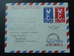 Lettre Premier Vol First Flight Cover France Tahiti Polynesie Par TAI 1958 Oblit. Chambon Sur Lignon Haute Loire - Postmark Collection (Covers)