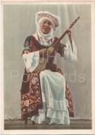 Kazakh Song - Musical Instrument - Woman In Folk Costumes - 1956 - Kazakhstan USSR - Unused - Kazakhstan