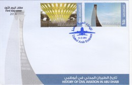UAE New Issue 2014, Hist Of Civil Aviation Abu Dhabi 2v.compl.set On Official Illustrated FDC- - United Arab Emirates
