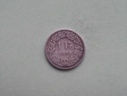 1880 - 1 Franc / KM 24 ( Uncleaned - For Grade, Please See Photo ) ! - Suisse