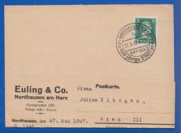 Deutschland; DR MiNr. 386; 1927; Ganzsache Mit Stempel Nordhausen Am Harz - Germany