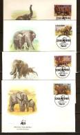 Ouganda Oeganda 1983 Yvertn° FDC 316-19 (°) Used  Cote 60 FF Faune WWF éléphants - Ouganda (1962-...)