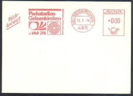 Germany Deutschland 1974 Card: Fussball Football Soccer: World Cup WM 74 Parkstadion Gelsenkirhen Freistempel EMA Meter - Coppa Del Mondo