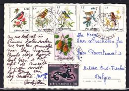 Oiseaux - Fruits - Poires - Signe Du Zodiaque - Saint Marin - Carte Postale De 1977 - Lettres & Documents