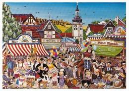 """CPM - """"Jahrmarkt In Unserer Stadt"""" Par K. Burandt - Illustration Naïve - Marché Annuel Dans Notre Ville - Marchés"""