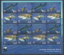 GRENADA, 2014, MNH, WWF, SHARKS, WHITE TIP SHARK, SHEETLET OF 4 SETS - Other