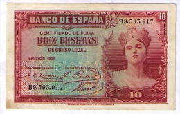 BILLETE DE 10 PESETAS DE 1935 MUY BONITO - [ 2] 1931-1936 : République