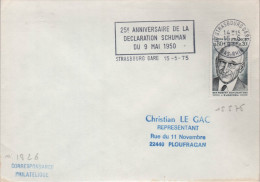"Lettre EUROPA 67 Strasbourg Gare 15 -5 1975 Flamme =o "" 25e Anniversaire De La Déclaratin Schuman Du 9 Mai 1950 - European Ideas"
