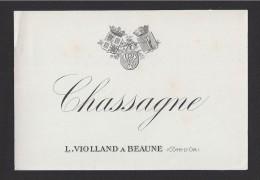 Etiquette De Vin Bougogne -  Chassagne  -  ND 30/40 ? -  L. Violland à Beaune (21) - Bourgogne