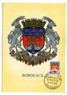 CARTE MAXIMUM / FRANCE N° 1183 / ARMOIRIE / BLASON / HERALDIQUE  /  BORDEAUX  /  LION   CHATEAU - Coat Of Arms