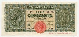 "50 LIRE, DECR. MIN. 10/12/1944 ITALIA - ITALY (FDS - UNC)  ""Italia Turrita"" - 50 Lire"
