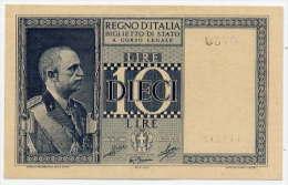 10 LIRE, BIGLIETTO DI STATO - DITTATURA FESCISTA 1944 (FDS - UNC) - [ 1] …-1946 : Kingdom