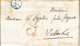 1852- LETTRE DE BERN AU SYNDIC DE VALLORBE- TTB-TAXEE 15 EN ROUGE-CACHET DE BERNE EN BLEU !!!! - Suisse