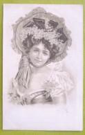 Litho Sepia Illustrateur BOTTARO Style Portrait Art Nouveau Belle Fille Femme Chapeau Fleurs Et Corsage Decolleté - Bottaro