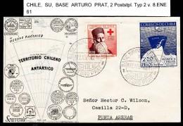 ANTARCTIC,CHILE, Base ARTURO PRAT, Markings Typ 2, 8.ENE 1961 On Nice Cover !! Look Scan 12.2-17 - Antarctische Expedities