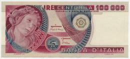 "100000 LIRE, ITALIA - ITALY PRIMAVERA BOTTICELLI, DATA EMISS. 10/06/1982 (SUP - AU) ""Firme - Sign. Ciampi-Stevani"". - [ 2] 1946-… : Républic"