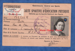 Carte Ancienne D'éducation Physique - COGNAC ( Charente ) - Yvette PILLIER - Valable Du 24 Mars 1944 Au 31 Décembre WW2 - Cognac