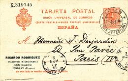 ESPAGNE - PAIS VASCO - Carte De Correspondance Des TRANSPORTS INTERNATIONAUX RICARDO RODRIGUEZ - IRUN - HENDAYE (1910) - Espagne