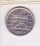 Niederlande Netherlands Pays-Bas - 25 Cent -  1991 - [ 3] 1815-… : Kingdom Of The Netherlands