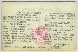 """(Bateaux) Citation Du Contre-torpilleur """"Le Chevalier Paul"""" à L'Ordre De L'Armée De Mer / Carte Photo. 19 Mai 1940. - Guerre 1939-45"""