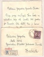 YOUGOSLAVIE : Timbre N°157 Obl. En 1924,  Sur Lettre Recommandée Express, Avec Son Contenu - Yugoslavia