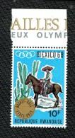 RWANDA   OLYMPIC GAMES 1968  WINNERS BASKETBALL  MEXICAN HORSE - Summer 1968: Mexico City