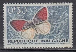 Madagascar, 1959 - 30c Butterfly - Nr.306 MLH* - Madagascar (1960-...)