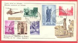 _5i-925: N° 946/51: Het Begijnhof Brugge:  COURRIER SPECIAL PAR HELICOPTERE BRUXELLES-BRUGES 19-6-1954.... - Bélgica