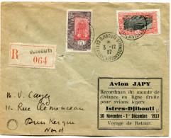 COTE FRANCAISE DES SOMALIS LETTRE RECOMMANDEE PAR AVION AVEC CACHET AVION JAPY...ISTRES-DJIBOUTI...VOYAGE DE RETOUR - Lettres & Documents