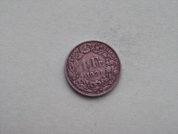1921 - 1 Franc / KM 24 ( Uncleaned - For Grade, Please See Photo ) ! - Suisse