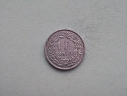 1958 - 1 Franc / KM 24 ( Uncleaned - For Grade, Please See Photo ) ! - Suisse