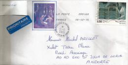 Peintre Belge Paul Delvaux, Sur Lettre Adressée En Andorre, Avec Timbre à Date Arrivée - Moderne