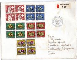 1958 SVIZZERA SUISSE SWITZERLAND PRO PATRIA BLOCCHI DI 4 PJ  RACCOMANDATA - Pro Patria