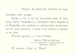 QSL POSTAL DE RADIO AFICIONADO DE ROSARIO DE SANTA FE EN ARGENTINA DEL AÑO 1933 - Tarjetas QSL
