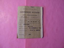 Carte D'Immatriculation  1946 - Bank & Insurance