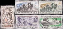 CZECHOSLOVAKIA, 1957, Peace Cycling Race, Bicycle, Byke, Archery, Boxing, MNH (**), Sc/Mi 796-800/1013-17 - Checoslovaquia